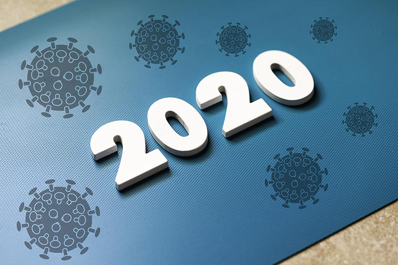 Illustration jahr 2020 mit Covid